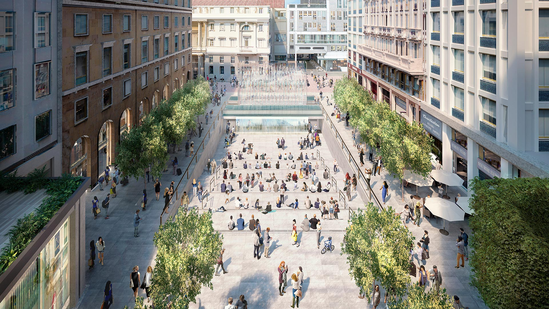 Ein Blick auf die umgestaltete Piazza Liberty in Mailand — Illustration: Apple · Foster + Partners
