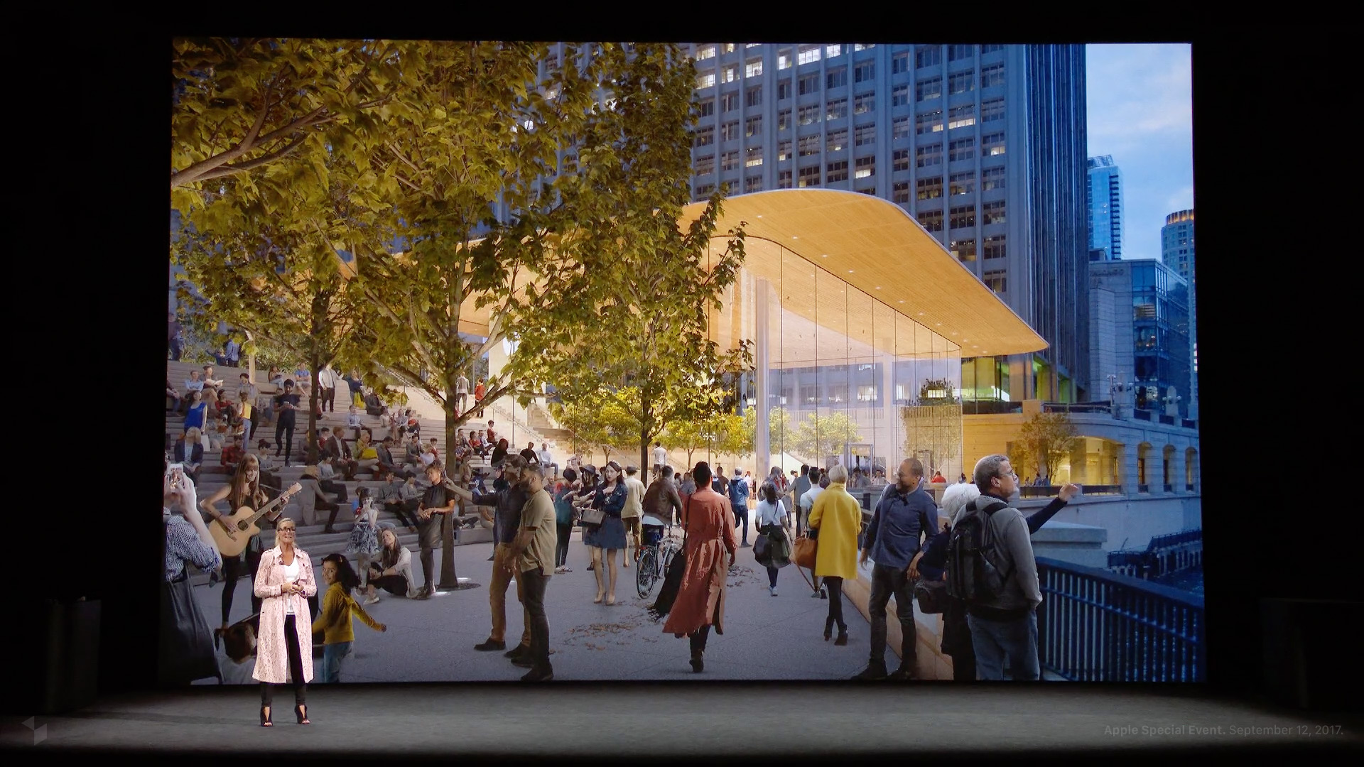 Angela Ahrendts beim Apple Special Event im Steve Jobs Theater: Apple Michigan Avenue