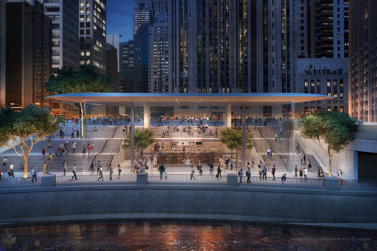 Apple Michigan Avenue am Chicago River — Illustration: Foster + Partners · Apple Inc.